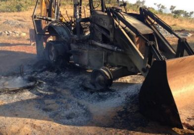 Maoists protest road work, set vehicles ablaze