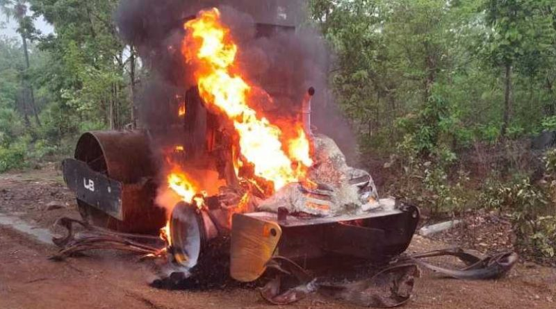 Cadres Of CPI Maoist Led PLGA Torch Two Construction Vehicles In Gaya District
